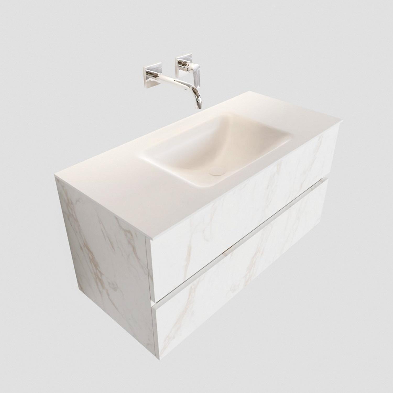 Badkamermeubel BWS Valencia Carrara Mat 100 cm Solid Surface Wastafel (0 kraangaten, 2 lades) Boss & Wessing Gratis bezorgd