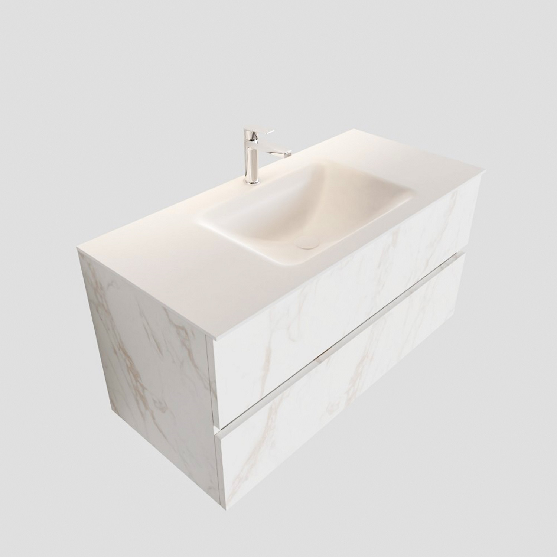 Badkamermeubel BWS Valencia Carrara Mat 100 cm Solid Surface Wastafel (1 kraangat, 2 lades) Boss & Wessing Gratis bezorgd