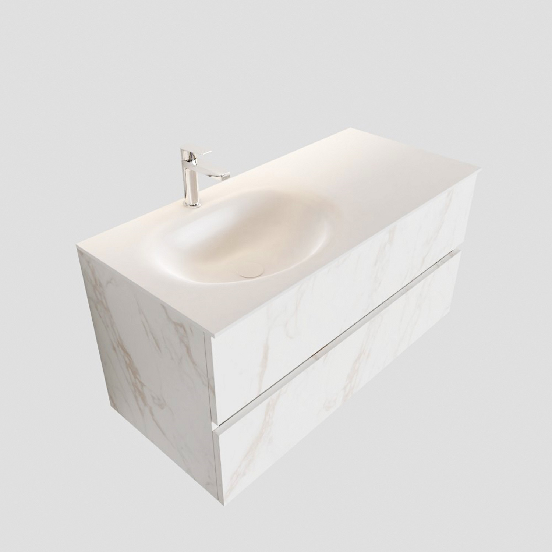 Badkamermeubel BWS Madrid Carrara Mat 100 cm Solid Surface Wastafel Links (1 kraangat, 2 lades)