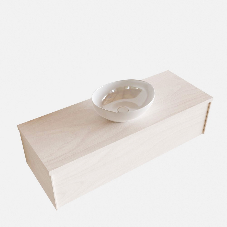 Badkamermeubels 86492 Badkamermeubel BWS Madrid Wit 120 cm met Massief Topblad en Keramische Waskom (1 kraangat)
