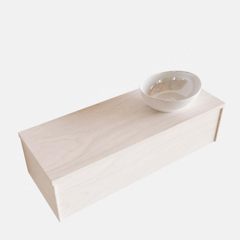 Badkamermeubels 86501 Badkamermeubel BWS Madrid Wit 120 cm met Massief Topblad en Keramische Waskom Rechts (0 kraangaten)