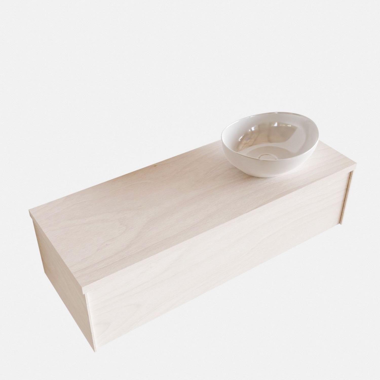 Badkamermeubels 86497 Badkamermeubel BWS Madrid Wit 120 cm met Massief Topblad en Keramische Waskom Rechts (1 kraangat)