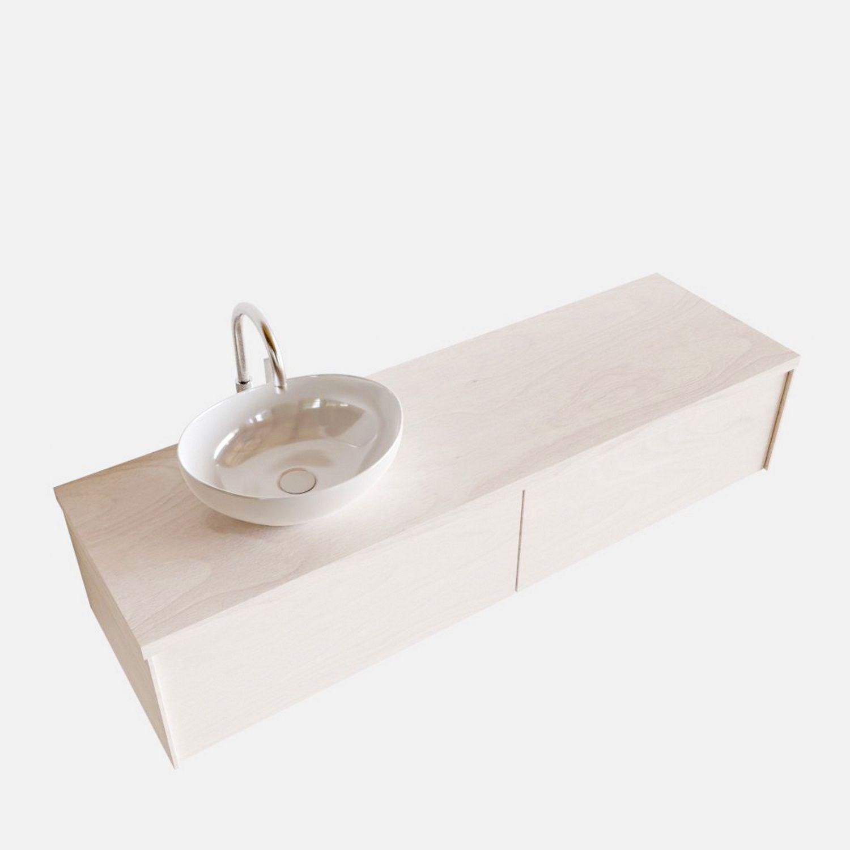 Badkamermeubel BWS Madrid Wit 150 cm met Massief Topblad en Keramische Waskom Links (2 lades, 1 kraa