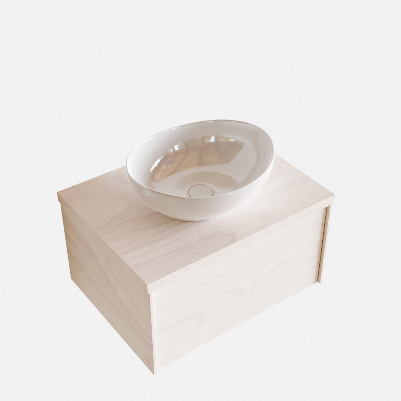Badkamermeubels 86474 Badkamermeubel BWS Madrid Wit 60 cm met Massief Topblad en Keramische Waskom (0 kraangaten)