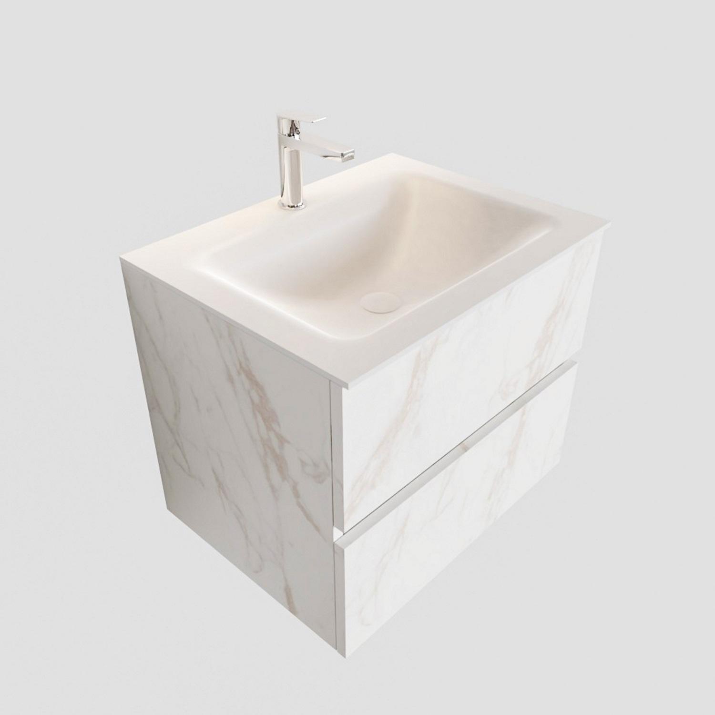 Badkamermeubel BWS Valencia Carrara Mat 60 cm Solid Surface Wastafel (1 kraangat, 2 lades) Boss & Wessing Gratis bezorgd