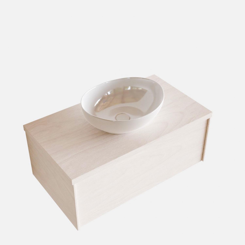 Badkamermeubels 86478 Badkamermeubel BWS Madrid Wit 80 cm met Massief Topblad en Keramische Waskom (1 kraangat)