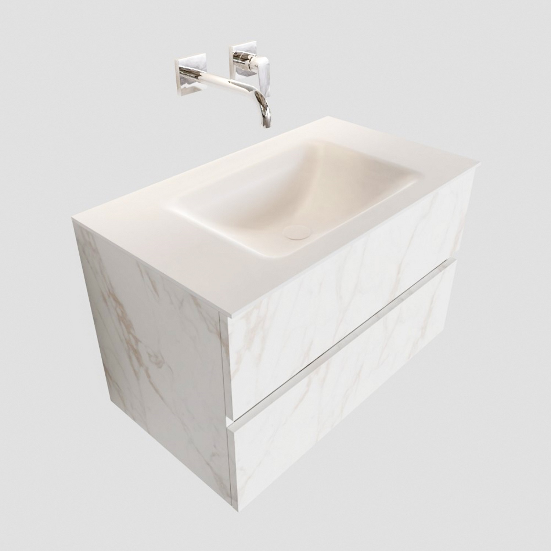 Badkamermeubel BWS Valencia Carrara Mat 80 cm Solid Surface Wastafel (0 kraangaten, 2 lades) Boss & Wessing Gratis bezorgd
