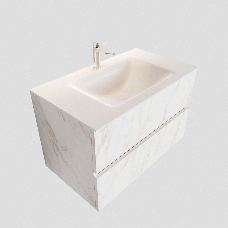 Badkamermeubel BWS Valencia Carrara Mat 80 cm Solid Surface Wastafel (1 kraangat, 2 lades) Boss & Wessing Gratis bezorgd