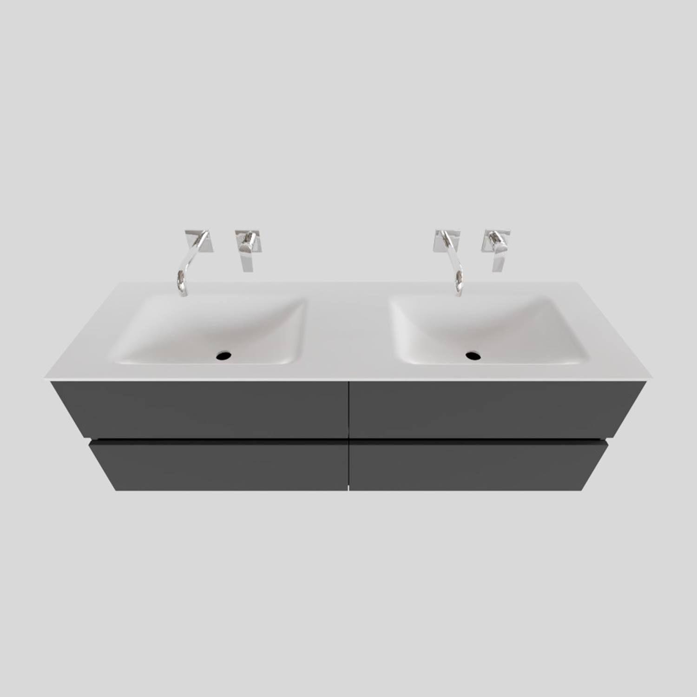 Badkamermeubel Solid Surface BWS Oslo 200x46 cm Mat Antraciet Wasbak Dubbel (0 kraangaten, 4 lades)