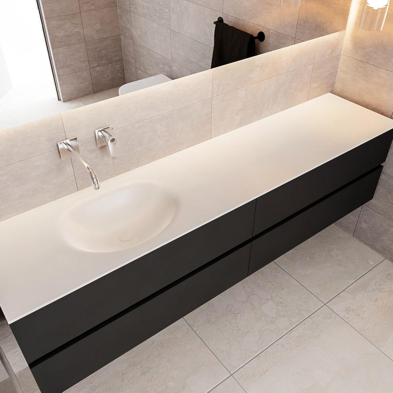 Badkamermeubel Solid Surface BWS Stockholm 200x45 cm Mat Zwart Urban Links (0 kraangaten, 4 lades) kopen - Tegel Depot sanitair met korting