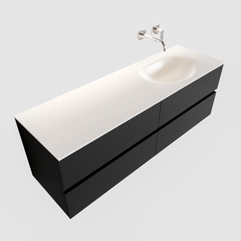 Badkamermeubel Solid Surface BWS Stockholm 150x45 cm Mat Zwart Urban Rechts (0 kraangaten, 4 lades)