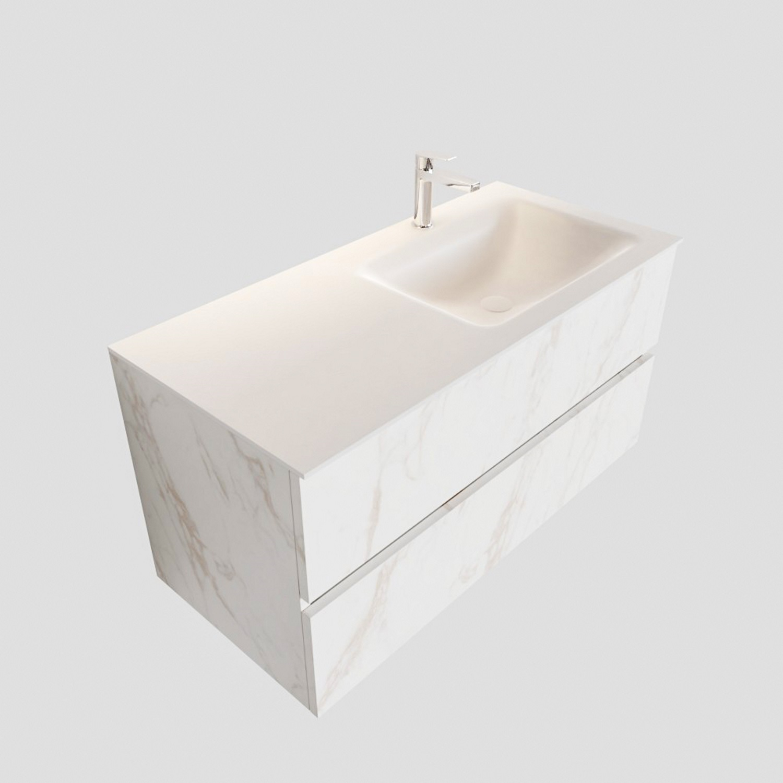 Badkamermeubel BWS Valencia Carrara Mat 100 cm Solid Surface Wastafel Rechts (1 kraangat, 2 lades) Boss & Wessing Gratis bezorgd