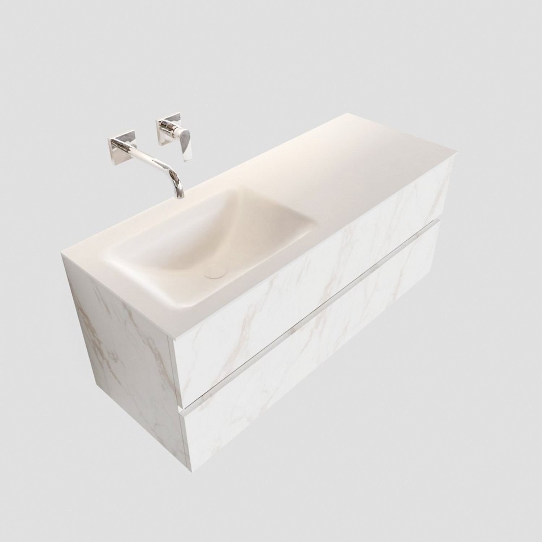 Badkamermeubel BWS Valencia Carrara Mat 120 cm Solid Surface Wastafel Links (0 kraangaten, 2 lades) Boss & Wessing Gratis bezorgd