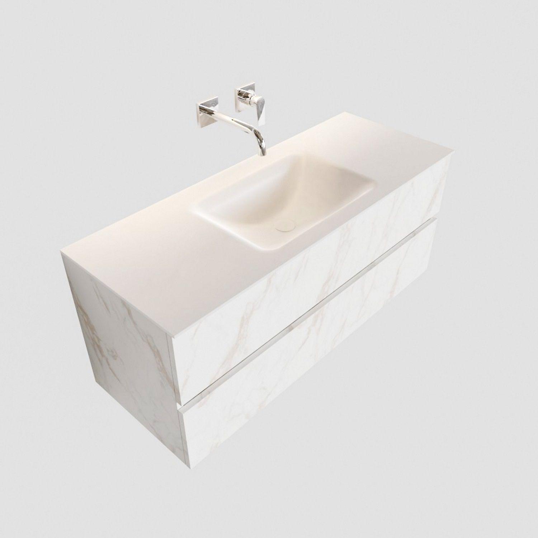 Badkamermeubel BWS Valencia Carrara Mat 120 cm Solid Surface Wastafel (0 kraangaten, 2 lades) Boss & Wessing Gratis bezorgd