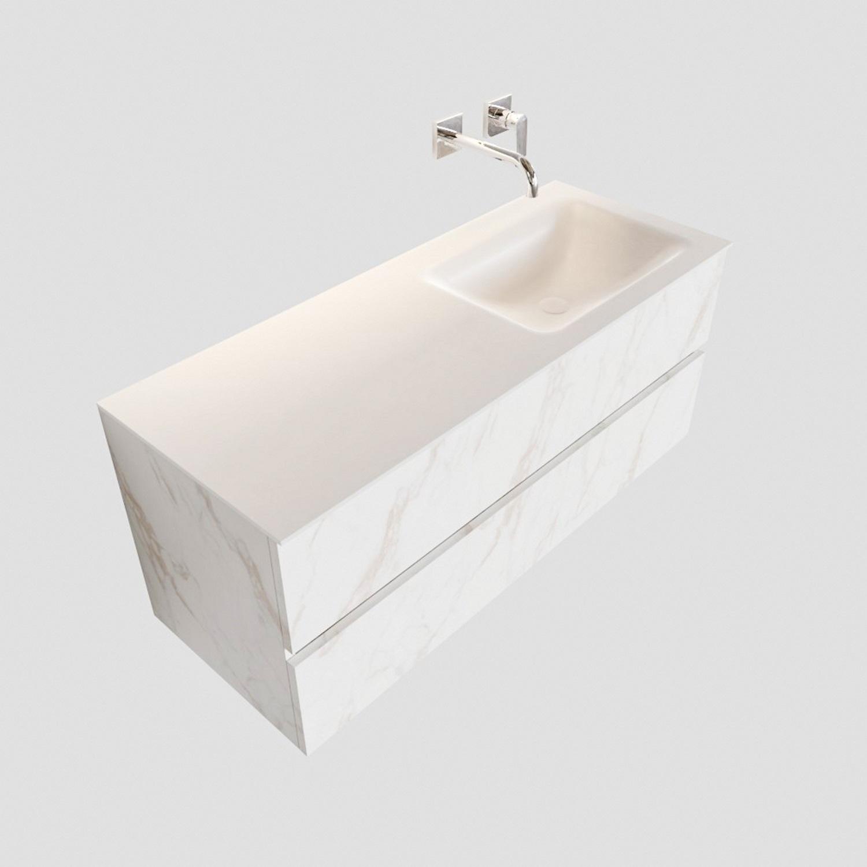 Badkamermeubel BWS Valencia Carrara Mat 120 cm Solid Surface Wastafel Rechts (0 kraangaten, 2 lades) Boss & Wessing Gratis bezorgd