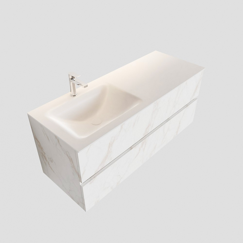 Badkamermeubel BWS Valencia Carrara Mat 120 cm Solid Surface Wastafel Links (1 kraangat, 2 lades) Boss & Wessing Gratis bezorgd
