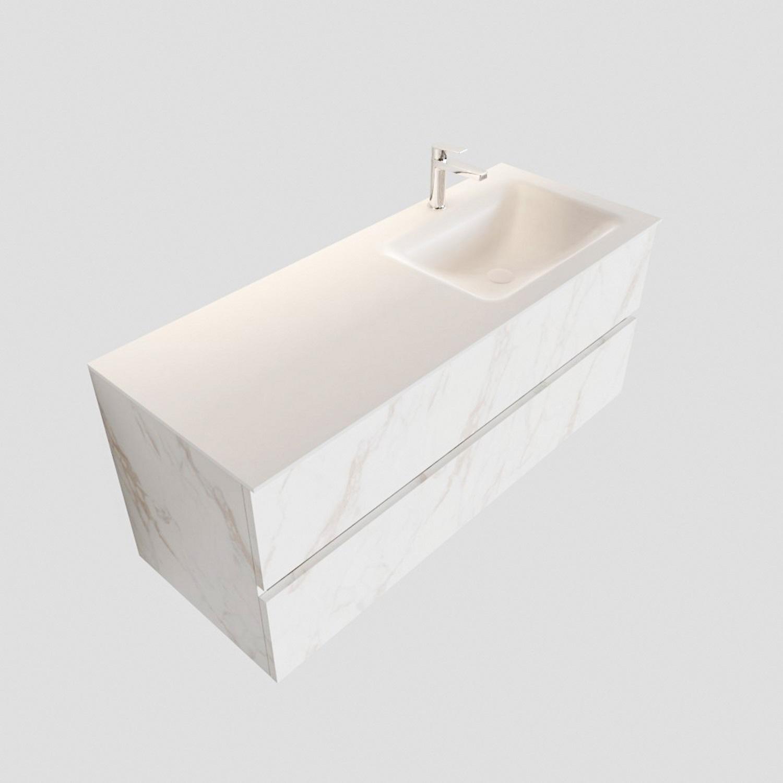 Badkamermeubel BWS Valencia Carrara Mat 120 cm Solid Surface Wastafel Rechts (1 kraangat, 2 lades) Boss & Wessing Gratis bezorgd