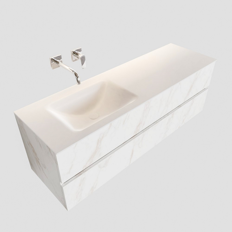Badkamermeubel BWS Valencia Carrara Mat 150 cm Solid Surface Wastafel Links (0 kraangaten, 2 lades) Boss & Wessing Gratis bezorgd