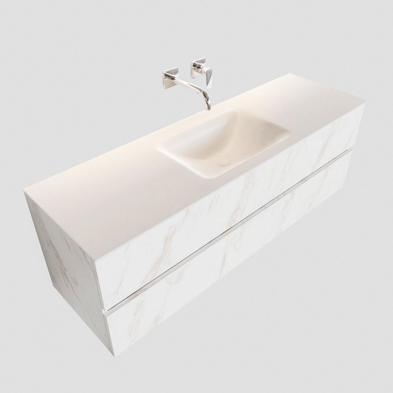 Badkamermeubel BWS Valencia Carrara Mat 150 cm Solid Surface Wastafel (0 kraangaten, 2 lades) Boss & Wessing Gratis bezorgd