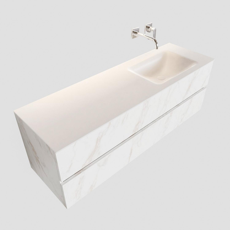Badkamermeubel BWS Valencia Carrara Mat 150 cm Solid Surface Wastafel Rechts (0 kraangaten, 2 lades) Boss & Wessing Gratis bezorgd