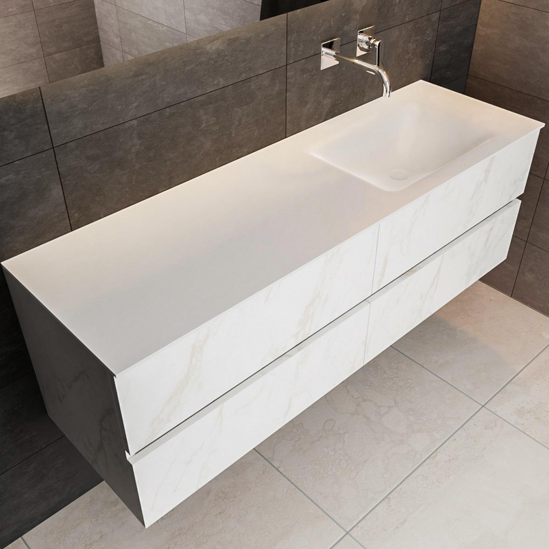 Badkamermeubel BWS Valencia Carrara Mat 150 cm Solid Surface Wastafel Rechthoekige Wasbak Rechts (0