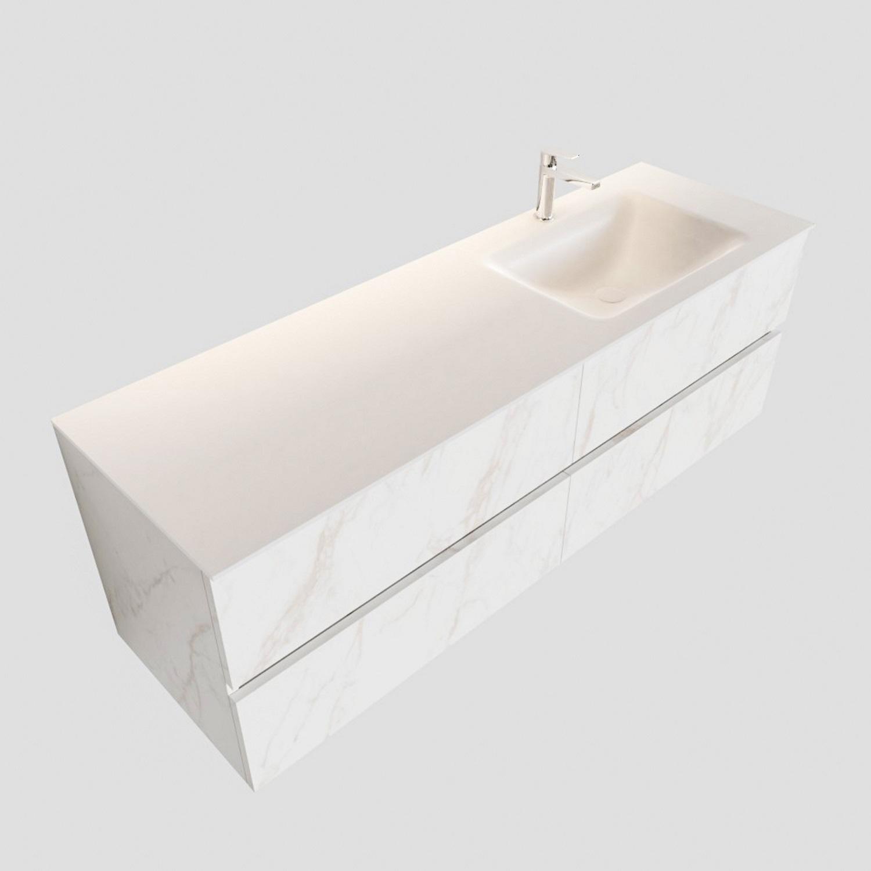 Badkamermeubel BWS Valencia Carrara Mat 150 cm Solid Surface Wastafel Rechthoekige Wasbak Rechts (1