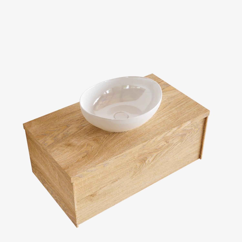 Badkamermeubels 86323 Badkamermeubel BWS Madrid Washed Oak 80 cm met Massief Topblad en Keramische Waskom (1 kraangat)