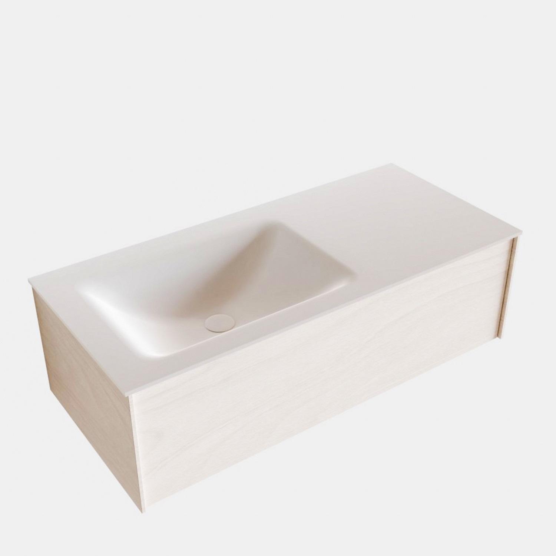 Badkamermeubel BWS Madrid Wit 100x45x30 cm Mat Witte Solid Surface Wastafel Links (1 kraangat)