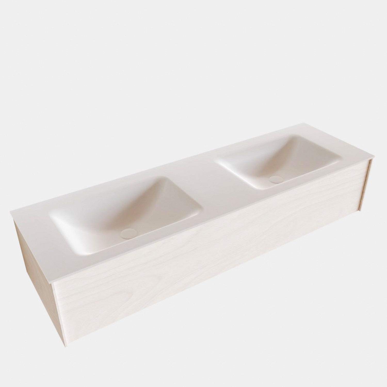 Badkamermeubel BWS Madrid Wit 150x45x30 cm Mat Witte Solid Surface Wastafel Dubbel (2 kraangaten)