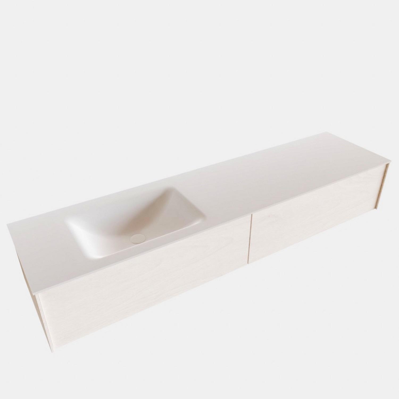 Badkamermeubel BWS Madrid Wit 180x45x30 cm Mat Witte Solid Surface Wastafel Links (2 lades, 1 kraang