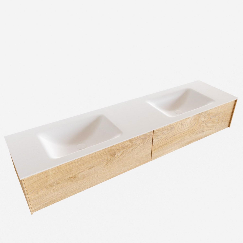 Badkamermeubel BWS Madrid Washed Oak 180x45x30 cm Mat Witte Solid Surface Wastafel Dubbel (2 lades,