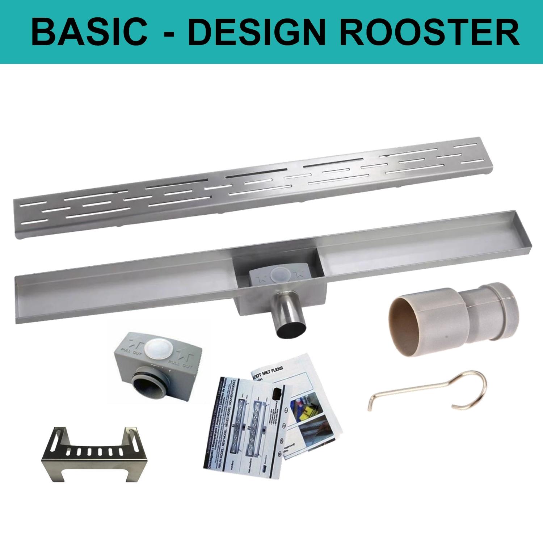 Sanitair-producten > Afvoer > Douchegoten > RVS Douchegoot > Basic Met Designrooster