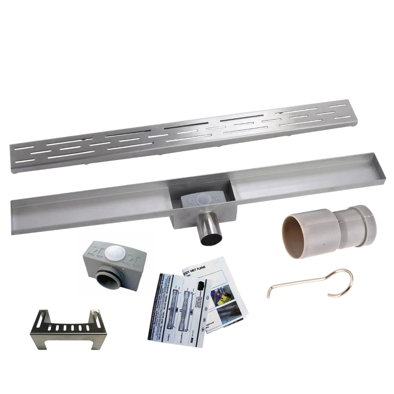 RVS Douchegoot BASIC met uitneembaar sifon 70x7cm 6,7cm diep STANDAARD ROOSTER