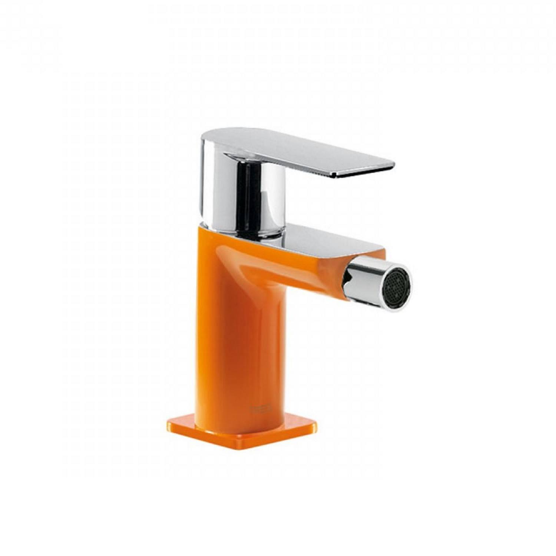 Bidetmengkraan Tres Loft Colors 1-Hendel Uitloop Recht 8 cm Rond Oranje Chroom