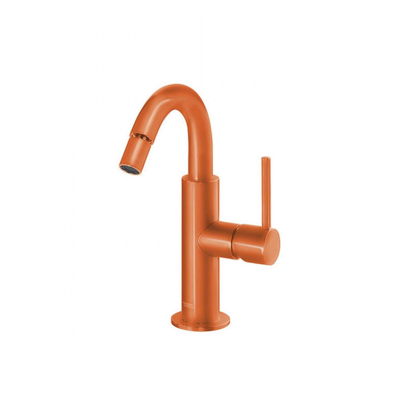 Bidetmengkraan Tres Study Colors 1-Hendel Uitloop Gebogen 16.5 cm Rond Oranje voordeel