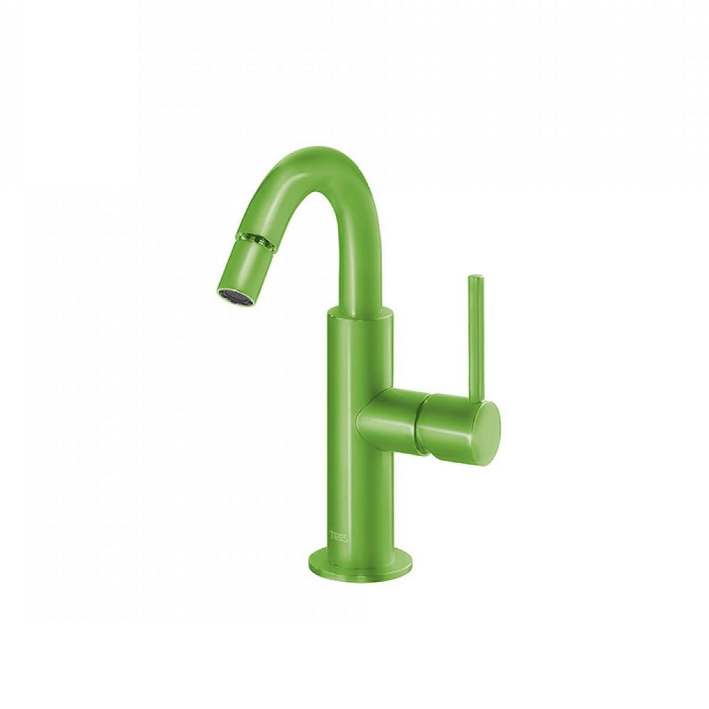Bidetmengkraan Tres Study Colors 1-Hendel Uitloop Gebogen 16.5 cm Rond Groen voordeel