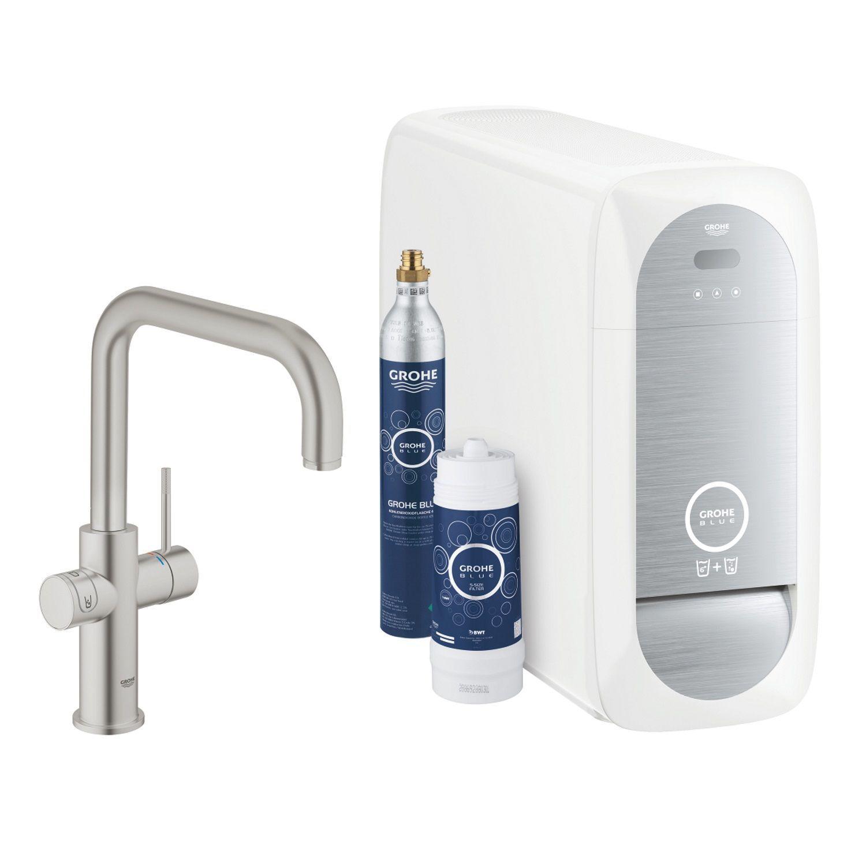 Productafbeelding van Bruisendwater Keukenkraan Grohe Blue Home Duo Starterkit Chilled en Sparkling Water U Uitloop (Chroom of RVS)