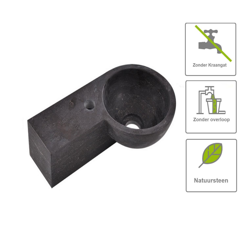 Sanitair-producten 67498 BSW Fontein Zeus Hardsteen Rond Links 40x23x10 cm