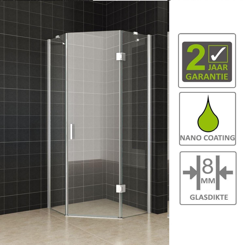 Sanitair-producten 66859 BWS 5 Hoek Douchecabine 100x100 cm 8mm Nano Glas