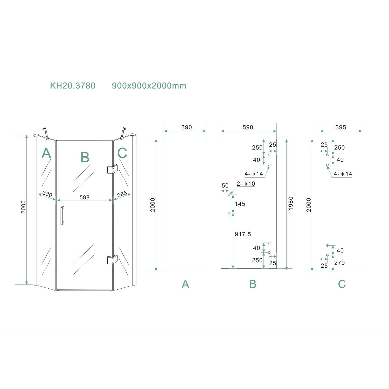 Complete Douchecabines Punt Nl.Bws 5 Hoek Douchecabine 90x90 Cm 8mm Nano Glas