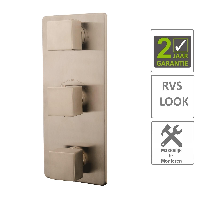 BWS Afbouwdeel Vierkant Douche Thermostaat 3Weg RVS Look - Tegels en ...