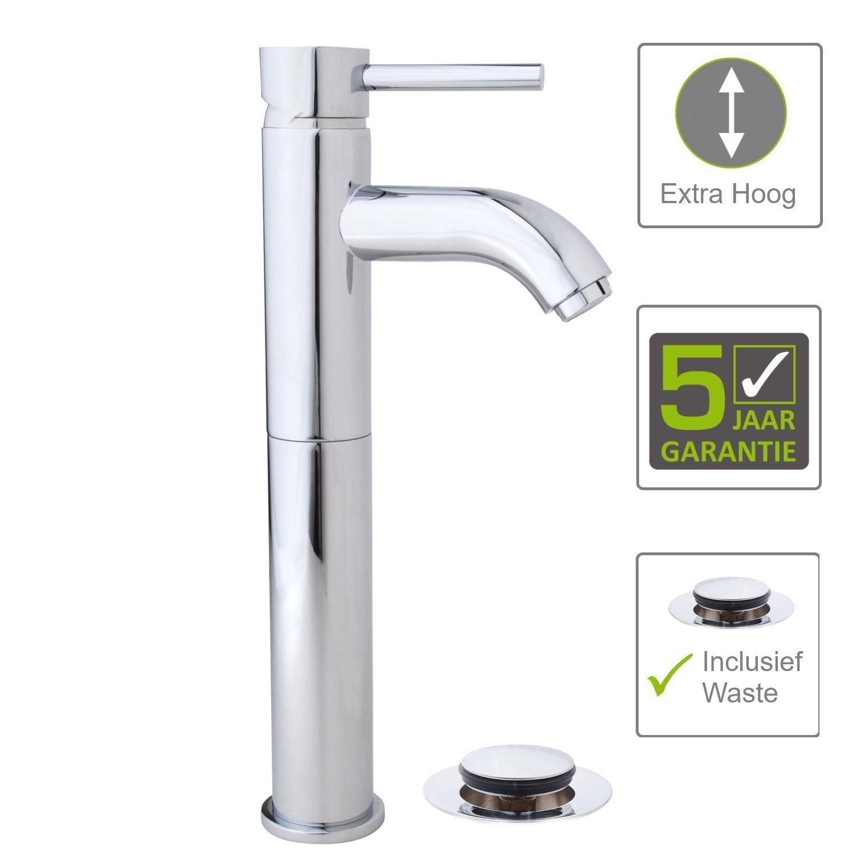 Sanitair-producten 62075 BWS Chepri Kiwa Wastafelmengkraan Hoog, Clickwaste Chroom