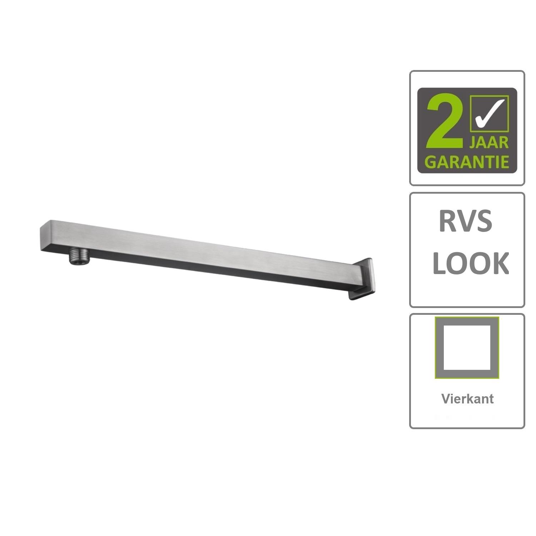 BWS Douchearm Hera Recht Muurbevestiging Vierkant 41cm RVS