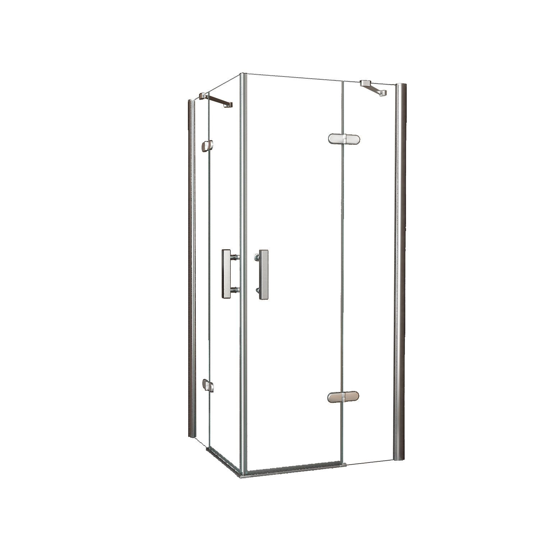 douchecabine met hoekinstap met 2 deuren 90x90cm 8mm nano coating
