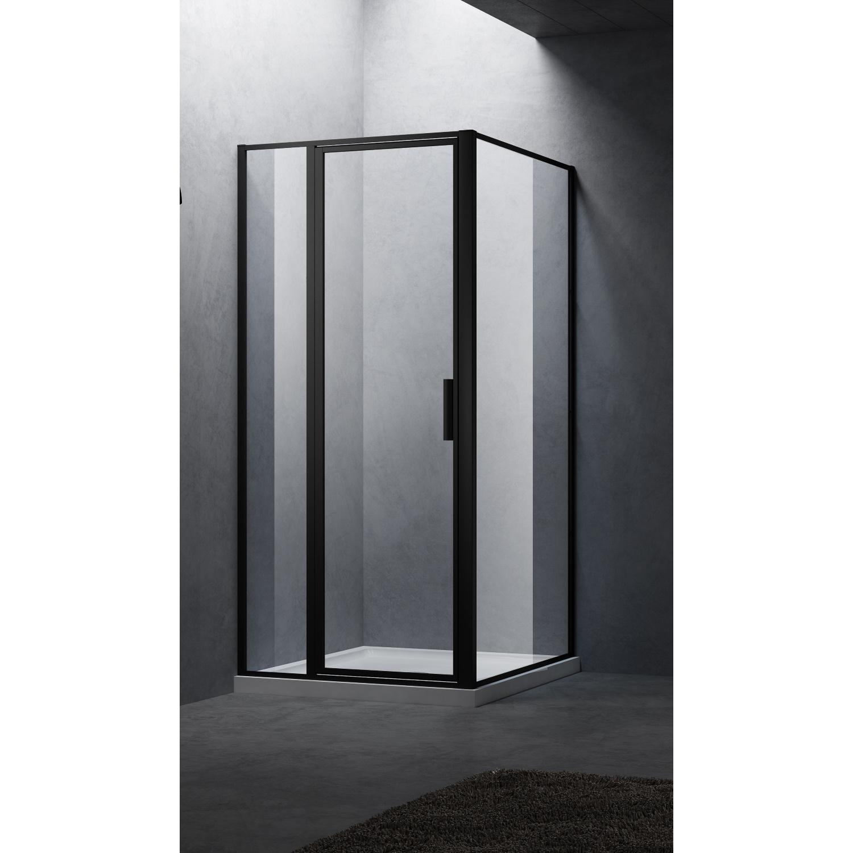 Productafbeelding van BWS Douchecabine Recta 120 cm Met Vast Paneel Nano Glas Mat Zwart Profiel (ALLE MATEN)