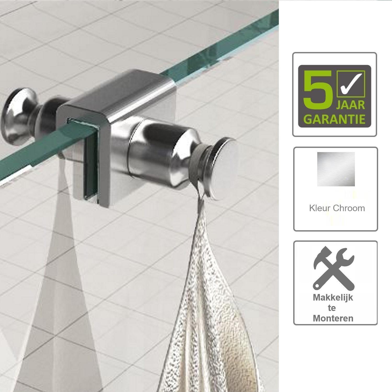 Sanitair-producten 67512 BWS Uni Dubbele Glashaak t.b.v. Douchecabine Chroom