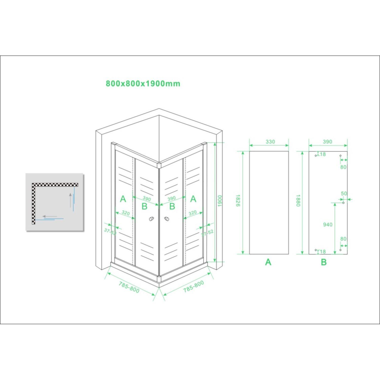eco hoekinstap douchecabine 80x80x190 cm 5mm helder glas