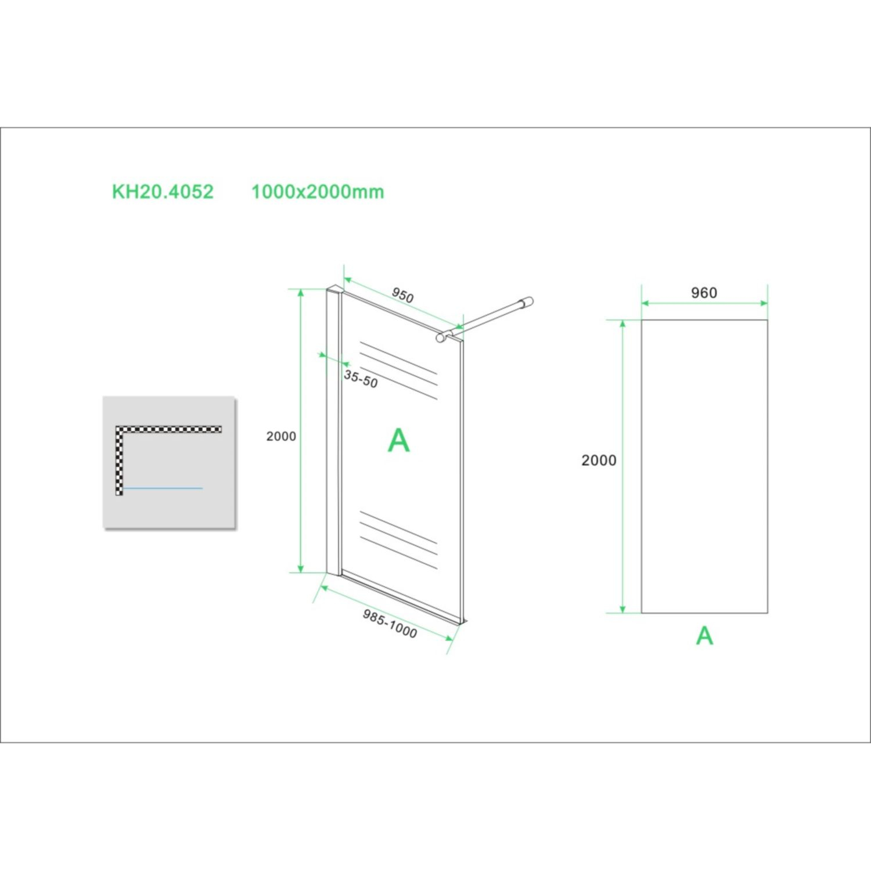 eco inloopdouche met muurprofiel 100x200 cm nano glas chroom