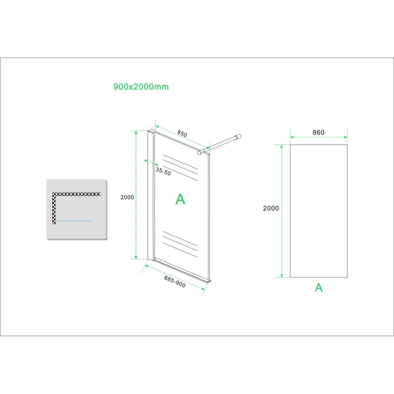 bws eco inloopdouche met muurprofiel 90x200 cm nano glas chroom