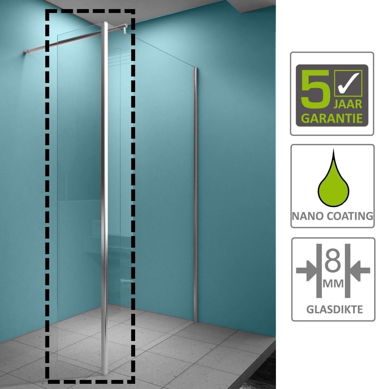 Sanitair-producten 67161 BWS Eco Zijwand met Hoekprofiel 30x200cm NANO Coating 8mm